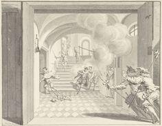 Simon Fokke | Willem I door Balthasar Gerards vermoord, Delft 10 juli 1584, Simon Fokke, 1753 | De prins van Oranje te Delft vermoord door Balthasar Gerards, 10 juli 1584. Willem van Oranje is op de trap neergeschoten en zakt in elkaar, links vlucht de moordenaar. Op de voorgrond twee toegesnelde wachten. Ontwerp voor een prent.