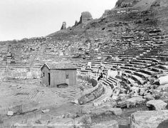 Ancient Theater of Dionysus Athens, Greece Athens Greece, Dionysus, Vintage Travel Posters, Old Photos, Monument Valley, Past, Scenery, Black And White, World