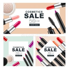 Download Set Of Sale Banners With Makeup Cosmetics. Red Lipstick, Mascara, Powder And Cosmetic Pencils. Stock Vector - Image: 74058815