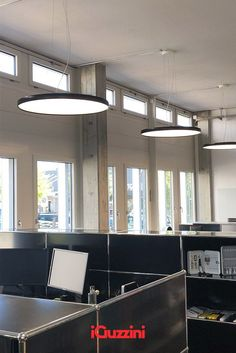 Suspended Isola illuminate the Baumann Electro AG offices. Comfortable light and design element that animate the space. Offices, Space, Design, Floor Space, Desk, The Office, Corporate Offices, Spaces