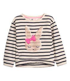 Sweater met pailletten   Lichtbeige/konijn   Kinderen   H&M NL