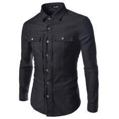 Black Denim Shirts Slim Jeans Tops Men Clothes Korean Fashion