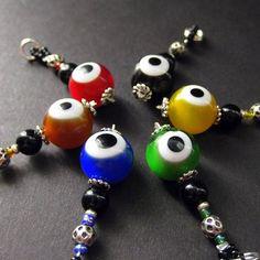 Green Eyeball Charm. Emerald Green Evil Eye Charm. Beaded Charm. Key Chain, Phone Charm, Zipper Pull