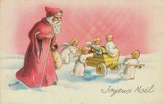 1920s Christmas Santa Claus Vintage card by artist Bernet