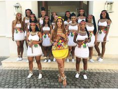 South African Fitness trainer Sbahle Mpisane, went topless at her traditional wedding in a colourful Zulu outfit, to showcase her culture. Her girls were Zulu Traditional Attire, African Traditional Wedding Dress, African Fashion Traditional, Traditional Outfits, Latest African Fashion Dresses, African Print Fashion, African Prints, Zulu Wedding, Wedding Gowns