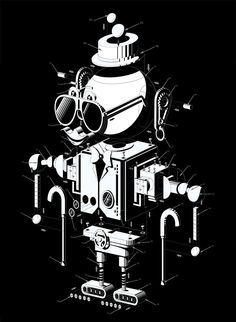 Black and white isometric illustration by blindSALIDA.