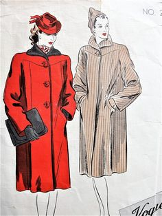 Late FABULOUS Straight Coat Pattern VOGUE Couturier Design Two Beautiful Versions Bust 34 Vintage Sewing Pattern-At So Vintage Patterns® you will find authentic vintage sewing patterns: This is a fabulous original dress making pattern, not Timeless Fashion, Retro Fashion, Vintage Fashion, Fashion 90s, Vintage Vogue, Dress Making Patterns, Coat Patterns, Medieval, Dress Drawing