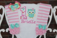 Owl First Birthday Outfit! Baby Girl First Birthday Outfit! Owl Birthday outfit/First birthday outfit/Mint and pink birthday outfit/owl Baby Girl First Birthday, First Birthday Outfits, Pink Birthday, Owl Applique, Applique Designs, Pink Owl, Pink Fabric, Girl Nursery, First Birthdays