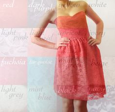 CHOOSE your color  Lace and Cotton bridesmaid dress by dhela, $120.00