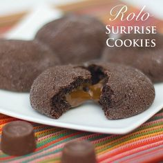A simple homemade recipe for fudgy chocolate cookies with the surprise of a Rolo caramel candy in the center. Rolo Chocolate, Chocolate Fudge Cookies, Chocolate Recipes, Rollo Cookies, Yummy Cookies, Baking Recipes, Cookie Recipes, Christmas Baking, Christmas Cookies