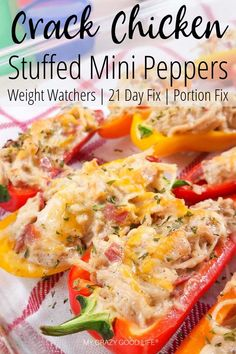 These Crack Chicken Stuffed Peppers are a healthy crack chicken recipe that's perfect for those of us looking for healthy recipes. Crack Chicken with Greek Yogurt can be made in the slow cooker or on the stove, as well. This recipe is versatile and can be Healthy Chicken Recipes, Diet Recipes, Healthy Snacks, Cooking Recipes, Diet Meals, Recipes With Chicken In A Can, Healthy Appetizers, Healthy Dinner With Chicken, Recipes Dinner