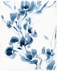 ORIGINAL painting original watercolor blue abstract flower