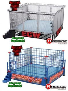 """Package Deal - """"Modern-Day Steel Cage Playset"""" & """"Classic Blue Steel Cage Playset"""" WWE Toy Wrestling Playsets by Wicked Cool Toys Wrestling Birthday Parties, Wrestling Party, Wwe Birthday, Wrestling Wwe, Swim Party Cupcakes, Wwe Party Supplies, Figuras Wwe, College Gameday Signs, Beautiful Birthday Cards"""