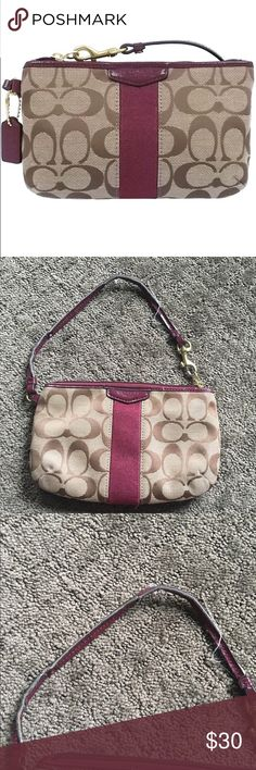Coach wristlet Adorable authentic coach wristlet. The wristlet itself is in great condition with a minor stain towards the bottom. The strap is quite cracked and frayed though. It has plenty of use left in it.    NO TRADES FEEL FREE TO ASK QUESTIONS I DO NOT MODEL Coach Bags Clutches & Wristlets