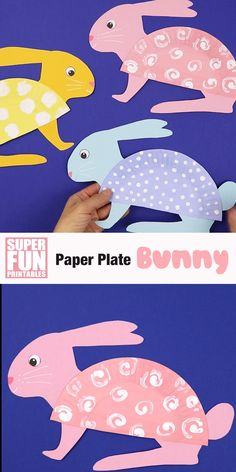 paper plate bunny craft for Easter or Spring. Make this adorable bunny with our printable template and half a paper plateCute paper plate bunny craft for Easter or Spring. Make this adorable bunny with our printable template and half a paper plate Easter Crafts For Toddlers, Paper Plate Crafts For Kids, Animal Crafts For Kids, Spring Crafts For Kids, Toddler Crafts, Preschool Crafts, Art For Kids, Fabric Crafts, Paper Crafts