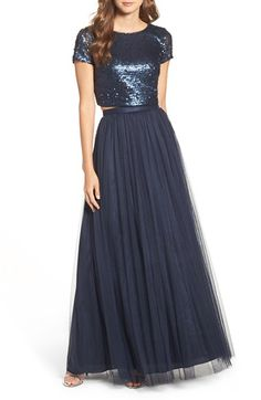 Free shipping and returns on Adrianna Papell Embellished Two Piece Gown at Nordstrom.com. A cap-sleeve crop top saturated with scores of sparkling sequins and a gorgeously voluminous tulle skirt are a romanticallyau courant combination in a two-piece gown that flutters and shimmers with every move.