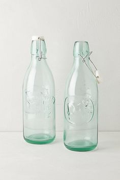 Green Glass Milk Bottles #anthropologie