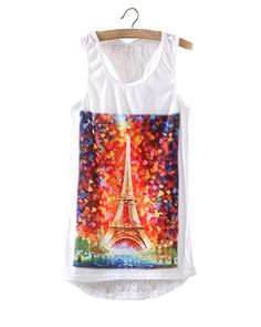 Dreamy Eiffel Tower Print Round Neck Tank Top With Lace Back TS0230039-2 | See more about Lace Back, Eiffel Towers and Tank Tops.