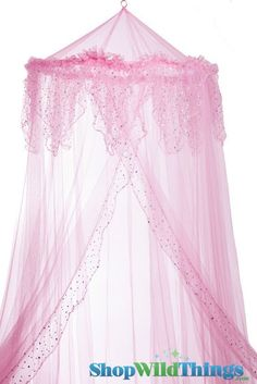 Canopy  Evangeline  Pink With Holographic Polka Dots Mosquito Net  sc 1 st  Pinterest & Triple Lace Ruffle Princess Pink Canopy | Lace ruffle Canopy and Room