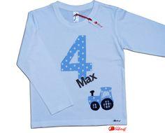 Langarmshirts - Geburtstagsshirt, Zahlenshirt, Zahl, Name, Traktor - ein Designerstück von mein-suessstoff bei DaWanda