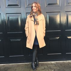 Camel coat, over the knee leather boots and a Burberry scarf