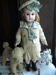 BEBE JUMEAU with her original mariner dress and hat from antiquedolls6395 on Ruby Lane