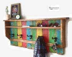 Entryway Wood Shelf / Rustic Pallet Coat Rack by RiversideStudioON