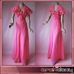 Vintage 1960s Sailor Collar Frilled Empire MOD Twiggy Sugar Pink Maxi Dress UK10