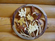 Three Hummingbirds and Flowers Intarsia Wood Art