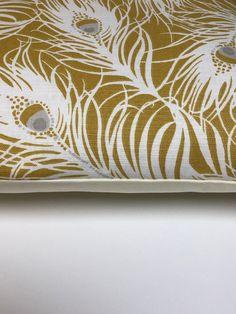2 x  Clarke & Clarke Harper Ochre Yellow Cream Feather Cushion Covers