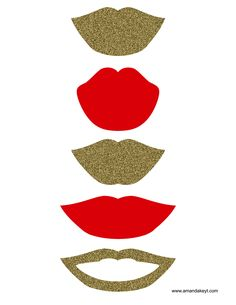Lips from Grad Gold Glitter 2015 Printable Photo Booth Prop Set