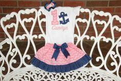 Girls Nautical Birthday Outfit Baby Girl Anchor by RuffleDarlings