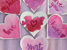 DIY Watercolor Valentine's Heart Love Notes
