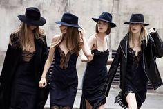 Vestido negro y sombrero para una invitada a boda