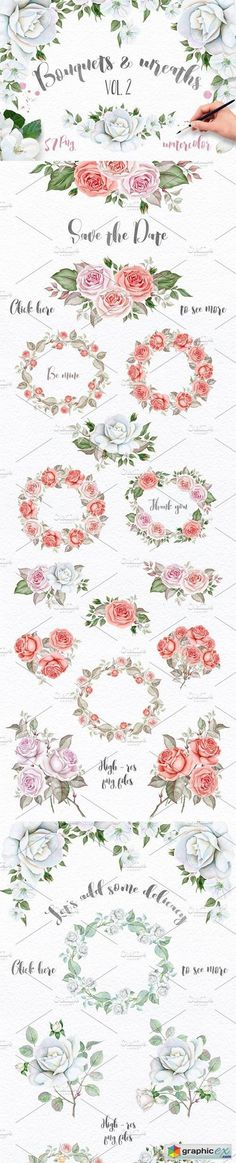 Wreaths and Bouquets collection. V.2  stock images