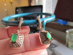 Vintage Sparkling Deco 2.40ctw Emerald & White Sapphire Rose Gold/Sterling Silver Dangle Earrings, Wt. 10.5 Grams by TamisVintageShop on Etsy