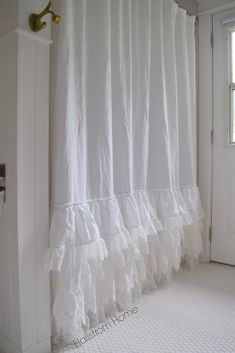 Make your bathroom feel inviting and luxurious with this beautiful handmade shower curtain. White linen and ruffles give this shower curtain a soft shabby chic Shabby Chic Wedding Decor, Shabby Chic Kitchen Decor, Romantic Shabby Chic, Shabby Chic Style, Shabby Chic Furniture, French Furniture, Shabby Chic Bedrooms, Shabby Chic Homes, Shabby Chic Shower Curtain