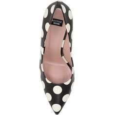 BOUTIQUE MOSCHINO 100mm Polka Dot Leather Pumps ($425) ❤ liked on Polyvore featuring shoes, pumps, leather pumps, genuine leather shoes, high heel pumps, pointed-toe pumps and polka dot shoes