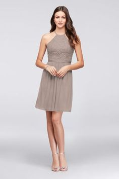 Open-Back Lace and Mesh Short Bridesmaid Dress F19752