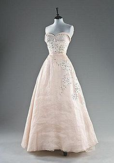 1958 - Yves Saint Laurent for Dior 'Trapeze' collection organza ball gown,