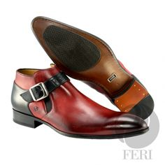 - Mens genuine leather single strap boot - Real cow hide leather upper - Genuine leather sole - Custom sole imprint with FERI design - Hand brushed leather creates unique look - Colour: Red/Black - Heel height: inches - Hardware plate: inches x inches Men's Shoes, Dress Shoes, Luxury Shoes, Cowhide Leather, Shoe Collection, Cow Hide, Black Heels, Chelsea Boots, Colour Black