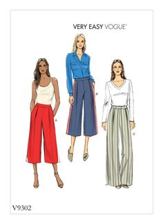 A great work wear pants can elevate your looks immensely. Create some stylish wide leg pants with this Vogue very easy to sew pattern. Vogue Patterns, Vintage Sewing Patterns, Clothing Patterns, Leftover Fabric, Love Sewing, Sewing Projects For Beginners, Sewing Hacks, Sewing Tips, Sewing Tutorials
