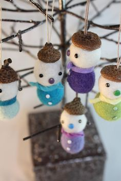 Felt ball acorn snowman Christmas ornament set of 5 by HoneyCanada, $28.00