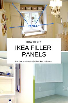 Wondering how to make IKEA cabinets look expensive? By making IKEA cabinets look built in with filler panels. Use this simple tutorial on how to install filler strips between ikea cabinets. You can make your IKEA PAX or IKEA SEKTION look built in. Pegboard Garage, Ikea Pax, Retro Furniture, Ikea Furniture, Ikea Akurum, Pallet, Ikea Built In, Organizing Hacks, Ikea Hacks