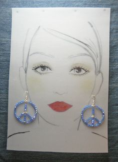 Sterling Silver Peace Earrings -  Swarovski Crystals Sapphire Blue  - #52811o40