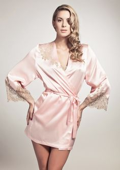 Marjolaine Jardin Rose Robe crafted in the palest of blush pink trimmed with gold lace