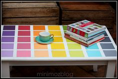 What a fun idea! Use paint chips to create a cute coffee table makeover! ModPodge was used for this one, but a thick lacquer to seal the top would be nice too :)