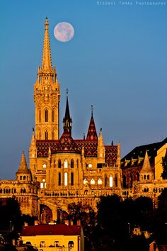 Matthias Church and the fairytale spires of the Fishermans's Bastion, built to complement it by Frigyes Schulek 1895-1902, Budapest Hungary