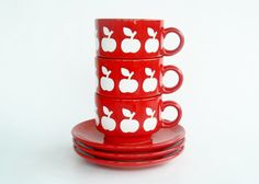 Big apple decor Waechtersbach set of 3 cup and saucer by Coollect, €29.00