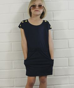 This Blue & Brass Button Dress - Toddler & Girls by Pretty Cute is perfect! #zulilyfinds
